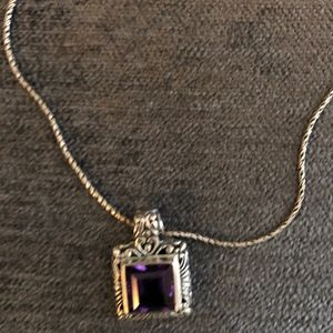 Purple Pendant on sterling silver chain